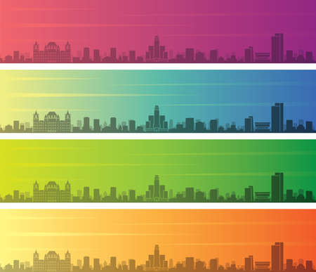 Albany Multiple Color Gradient Skyline Banner Illustration