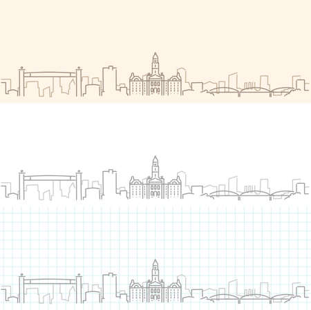 Fort Worth Hand Drawn Profile Skyline Illustration