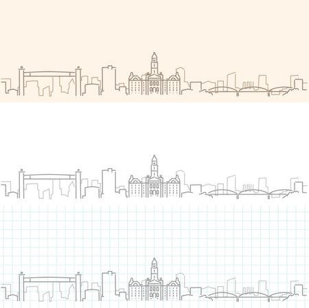 Fort Worth Hand Drawn Profile Skyline 矢量图像