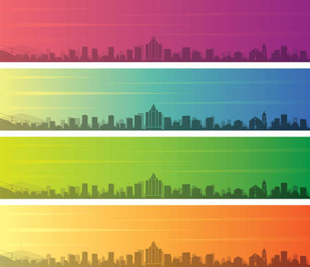 El Paso Multiple Color Gradient Skyline Banner