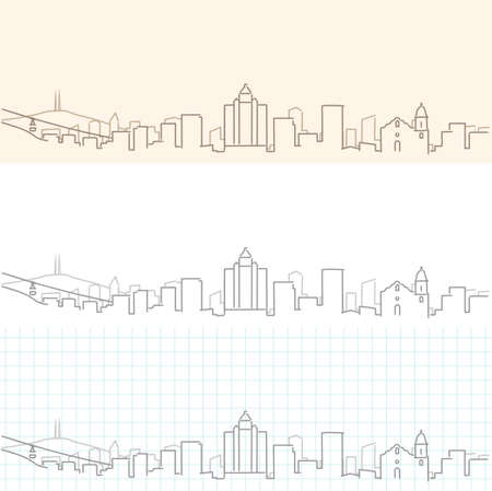 El Paso Hand Drawn Profile Skyline