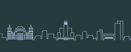 Albany Single Line Skyline Profile 矢量图像