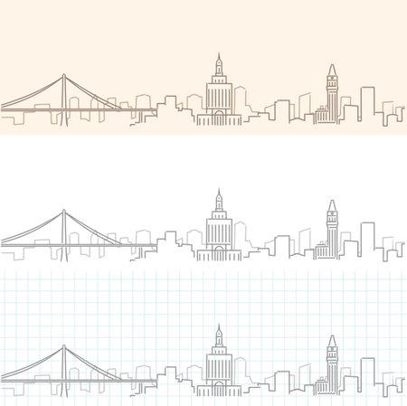 Oakland Hand Drawn Profile Skyline 矢量图像