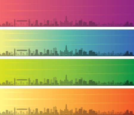 Fort Worth Multiple Color Gradient Skyline Banner Illustration
