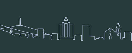 El Paso Single Line Skyline Profile Illustration