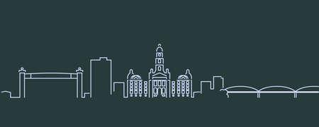 Fort Worth Single Line Skyline Profile 矢量图像