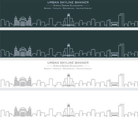 Albany Single Line Skyline Profile Banner Illustration
