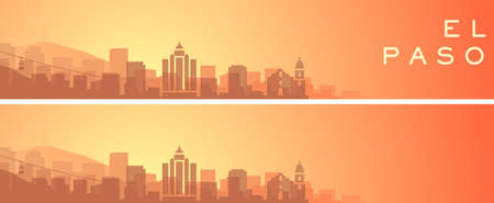 El Paso Beautiful Skyline Scenery Banner Illustration