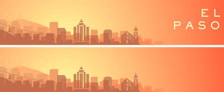 El Paso Beautiful Skyline Scenery Banner 矢量图像