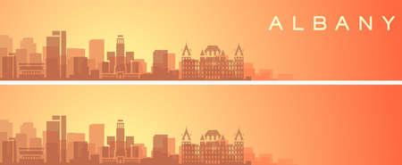Albany Beautiful Skyline Scenery Banner Illustration