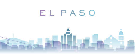 El Paso Transparent Layers Gradient Landmarks Skyline Banque d'images