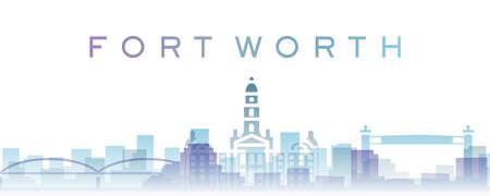 Fort Worth Transparent Layers Gradient Landmarks Skyline