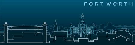 Fort Worth Multiple Lines Skyline and Landmarks 矢量图像