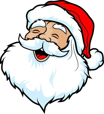 Illustration of the face of Santa Claus  Cartoon style