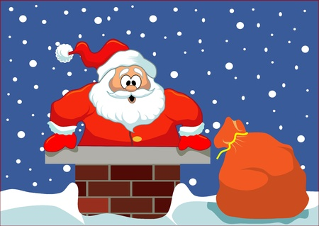 chimney: Santa stuck in the chimney  Simple Christmas illustration  Layered, easy to edit