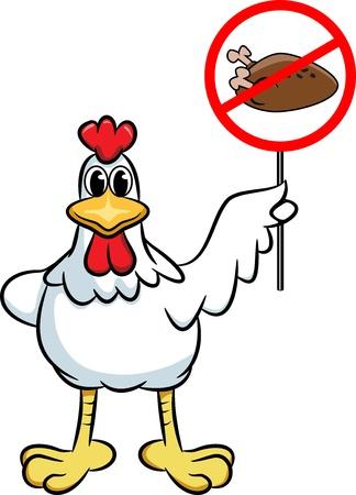 vegetarianism: Chicken holding a sign  Simple cartoon illustration Illustration
