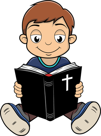 An a vector illustration of boy reading Bible