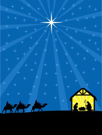 wise men: Navidad cristiana pesebre ilustración. Tres hombres sabios están llegando a Jesús.