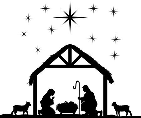 Traditional Christian Christmas Nativity Scene of baby Jesus in the manger with Mary and Joseph. Stock Illustratie