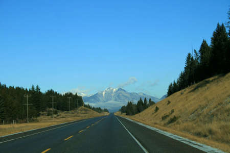 Highway leading into the beautiful Canadian Rockies