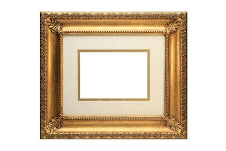 Gold Picture Frame with matting on a white background Stock Photo - 4297127