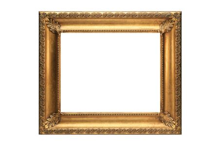 Gold Picture Frame on a white background Stock Photo