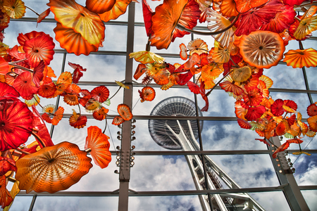 Seattle Space Needle as seen from inside the Chihuly Garden Editorial
