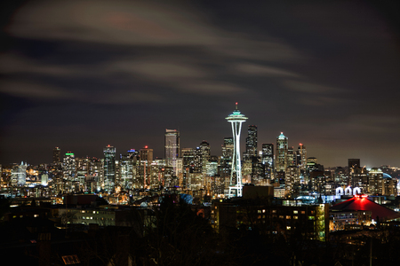 Seattle Skyline and Space Needle as seen from Kerry Park at night