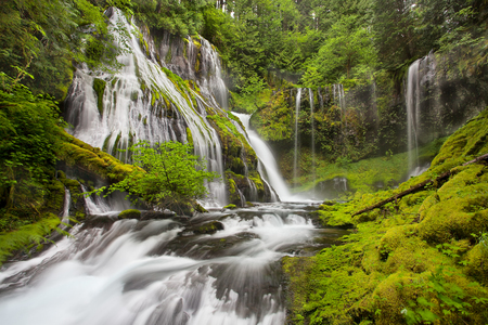 Panther Creek Falls in Washington State flowing in the spring Stock Photo