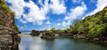 East Mauis most spectacular pool is Waioka Pond and is a very hidden gem along the rugged coastline
