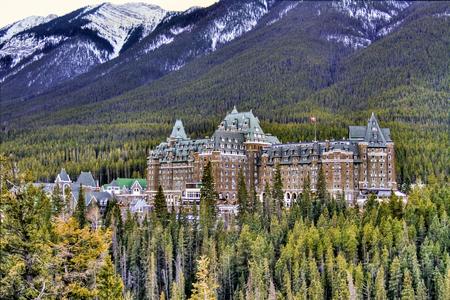 View of luxurious Banff Fairmont Springs Hotel, an historic landmark in Banff National Park, Alberta, Canada
