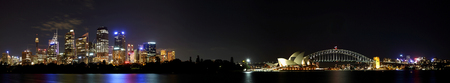 Panoramic view of the Sydney skyline, including the Harbor Bridge and Opera House at night