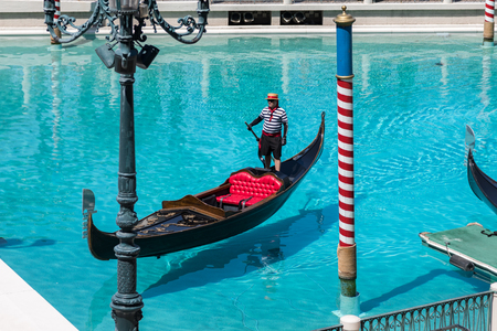 Las Vegas, Nevada, USA - September 1, 2017: The gondola at Grand Canal at The Venetian Resort Hotel and Casino.  This luxury hotel opened on May 3, 1999 on the Las Vegas strip. Editorial