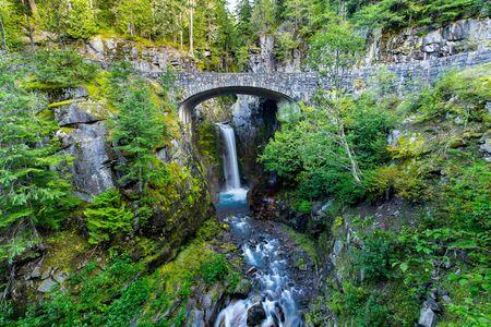 Long exposure shot of Christine Falls in Mount Rainier National Park in Washington state