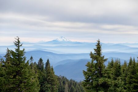 View of Mt. Jefferson from Mt. Hood with beautiful layers of misty mountains in between in Oregon, USA Reklamní fotografie