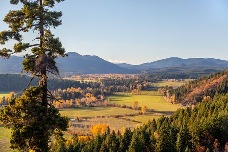 View of the valley that Trout Lake, WA resides in the fall in the Pacific Northwest