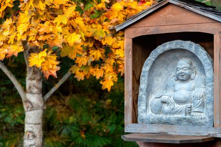 The Laughing Buddha, Budai, with his cloth sack stone sculpture with a yellow maple tree in the background in autumn Reklamní fotografie