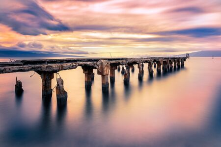 Historic Mala Wharf on West Mauis coast along Front Stree in Lahaina taken with a long exposure Reklamní fotografie