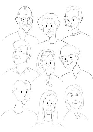 nationalities: Nine faces from different nationalities