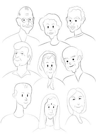 demografia: Nueve caras de diferentes nacionalidades Vectores