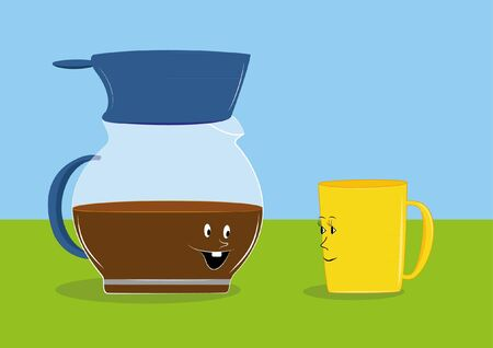 A coffee pot and a cup of talk