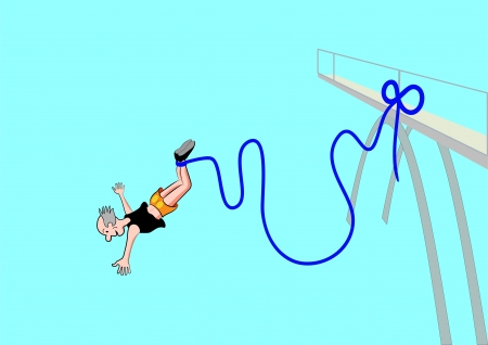 free fall: A senior who jumps headlong from a high bridge into the depths is the free fall of a rubber rope that is attached to the body of the jumper and the jump platform Illustration