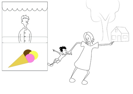 attempts: A mother attempts her little son to bring home Illustration