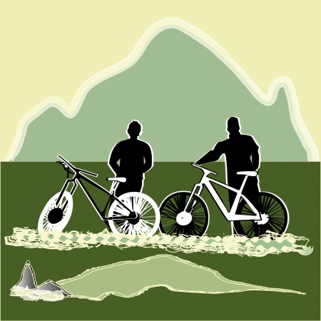 Young bicycle resting in landscape Stock Vector - 17718749