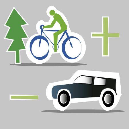 less: more less car bike,ecological transport Illustration