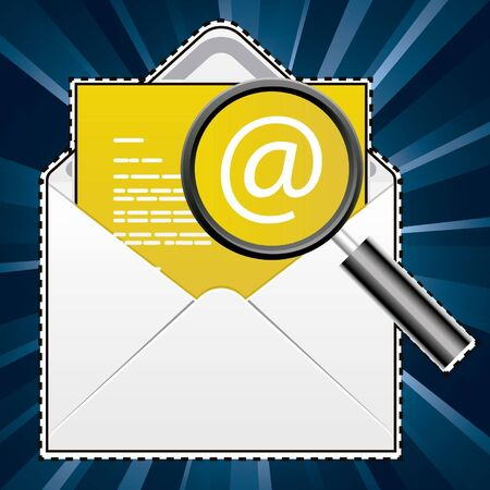 arroba: an envelope with at sign symbol and magnifier, symbologies-mail