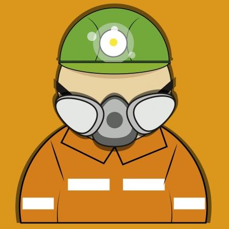 oxygen mask: mining man,man rescuer Illustration