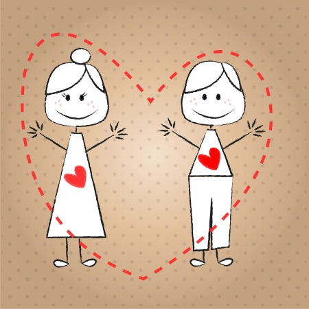 greet: children couple with a heart on his chest, shaking hands to greet, and dotted background degrade  Illustration