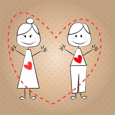 to degrade: ni�os pareja con un coraz�n en el pecho, dar la mano para saludar, y el fondo de puntos degradar Vectores