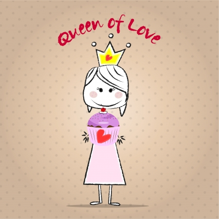 romantic girl with crown offering a cupcake with cherry, vintage background  Vector